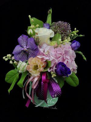 Florarie tulcea - Aranjament floral Uca100- hydrangea, orhidee vanda, eustoma, miniroze, mix green