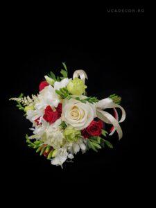 Florarie tulcea - Buchet cununie Uca200 – trandafiri, eustoma, orhidee tailanda, astilbe, agapanthus